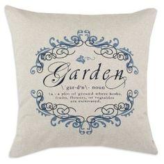 Garden Gate Indigo/Linen Natural 26 by 26-Inch KE Fiber Pillow