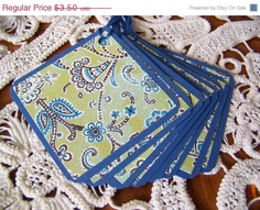CIJ Square Gift Tag Blue and Green Paisley by EllieMarieDesigns, $2.80