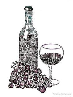 Wine Glass Reds Text Art Print Poster Mini Poster