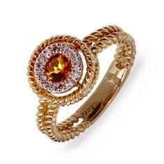 Rope Stack Citrine and Diamond Ring at MissesDressy.com