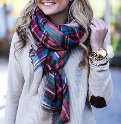 plaid + camel + elbow patches sweaters, camel, fall fashions, elbow patches, j crew, winter outfits, scarves, fall styles, plaid scarf