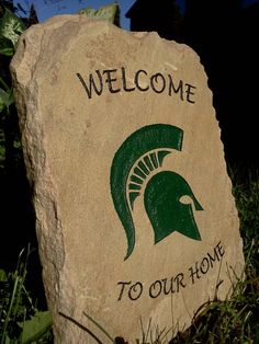 College Engraved Stone - Michigan State Spartans. $49.00, via Etsy.