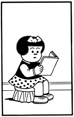 Nancy reading. Makes me want to giggle because she is so cute!