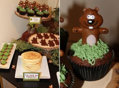 Groundhog Day Cupcakes with finger puppets #groundhog #cupcakes