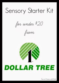 Sensory Starter Kit for under $20 from the Dollar Tree from Fun at Home with Kids, this is actually a good blog. fun learning for toddlers, dollar tree, toddler school ideas, tree activities for toddlers, therapy activities for kids, home school preschool, sensory activities preschool, sensory ideas for kids, classroom tree ideas