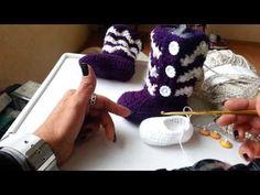 Botitas largas tejidas para niñas de 0-3 a 3- 6 meses parte 1 - YouTube