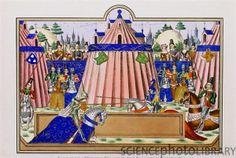 Medival knight illumination | Illumination of knights jousting near Calais, circa 1390 (so claims ...