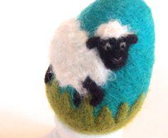 Needle Felted Egg - Spring Sheep - Easter Egg.
