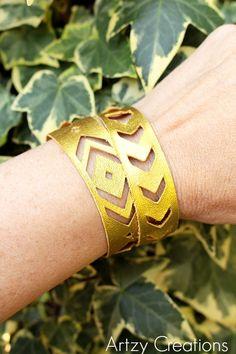 DIY Leather Chevron and Navajo Bracelets | artzycreations.com