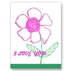 I LOVE YOU FLOWER POST CARD