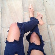 Nude pumps ripped jeans