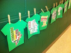 Teach adjectives and then have kids create their t-shirt.  great for back to school night display  Hello Literacy: A Packed Week of Learning