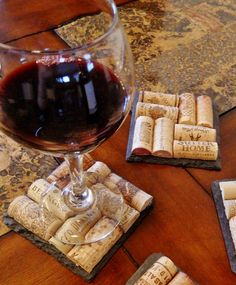Slate Wine Cork Coasters Set of 2 for $12.50.  Perfect for wedding, bridesmaid or wedding party gifts!