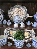 The Little Exchange carries a variety of formal entertaining pieces for your home like this blue and white tea set and silver platters.