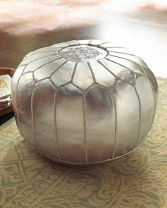 Silver Leather Pouf #horchow
