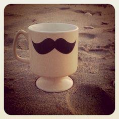 moustach, coffee cups, beach