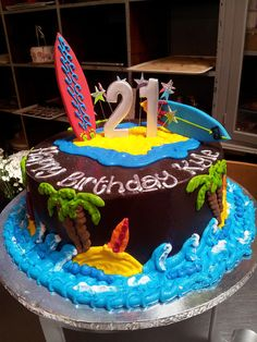 Wicked Chocolate cake iced in chocolate ganache icing, decorated with 3D #21, 3D surfboards, piped palm trees  waves by Charly's Bakery, via Flickr