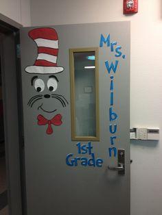 Cat in the hat classroom door.