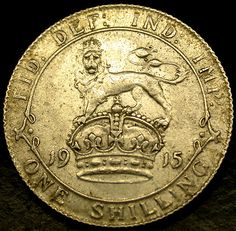 1915 Great Britain STERLING SILVER SHILLING in Nice Shape!