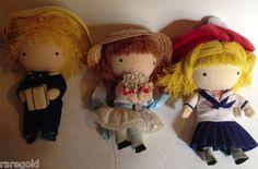 """Joan Walsh Anglund Pocket Dolls Wolfpit Vintage Set of 3 60s 70s 6"""" Boy Girls - SOLD"""