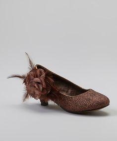 Another great find on #zulily! Brown Glitter Flower Kitten Heel #zulilyfinds