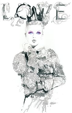 Print of Ink Illustration Watercolour Fashion Illustration. Titled - Loveink one
