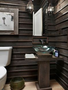 love the horizontal battens + the pedestal and that sink!! cabin, salvaged wood, rustic decor, bathroom designs, rustic bathrooms, hous, natural wood, wood walls, powder rooms