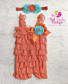 3 PC Petti Lace Romper Ruffle Rompers Baby by Pinkpaisleybowtique