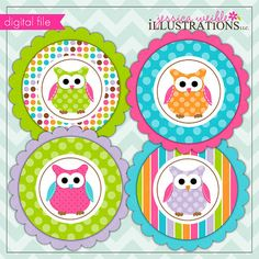 Polka Dot Owl Theme - Printable Party Tags - Cupake Toppers - Printable Party Favors - Owl Party Printables birthday parti, parti time3, owl party printables, owl parti