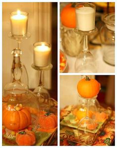 DIY - Using upside down glasses as candle holders!