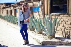 Liz from Late Afternoon takes her #SlimIllusion denim to the deserts in California. #DreamingInBlue