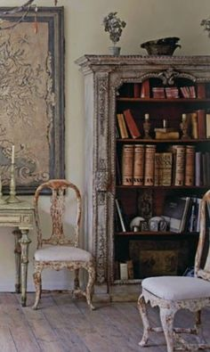 Vintage bookshelf, shabby chairs, French