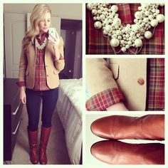 Stripped shirt, dark skinnies, riding boots, pearls and brown jacket.