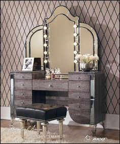 Vanity Set with Mirror Decor, Style, Bedrooms Design, Theme, Glam, Hollywood, Absolute Gorgeous, Celebrities Beds, Bedrooms Ideas
