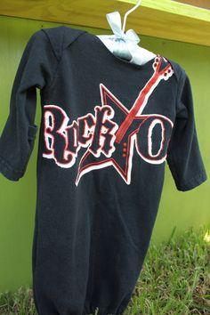 Newborn Baby Rock On Gutiar  Black Red White Sleeper Gown. $20.00, via Etsy. https://www.facebook.com/LittleSewingShop?ref=hl
