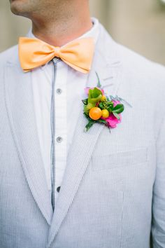 Mini citrus fruit as boutonniere. Freshly Picked.  – photo by http://bestphotographyfl.com