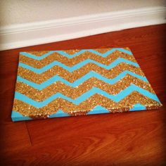 Chevron glitter canvas