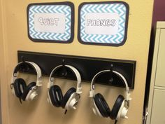 Quiet Phones -- broken headphones that block out noise for those who are distracted in the classroom. Genius!