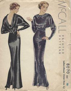 1934 Vintage Sewing Pattern B34 EVENING DINNER DRESS (1296) #McCall