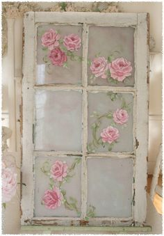 decor, antique windows, old window frames, pink roses, shabbi chic, shabby chic, old windows, window panes, paint