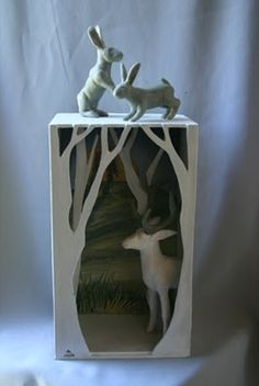 clay, sculpture projects, shadowbox, paper box sculptures, shadow box, diorama ideas, forest, susi mcmahon, kids craft projects