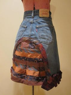 Repurposed Denim and Neckties Skirt - made from upcycled jeans and mens neckties - Womens Upcycled Clothing. $98.00, via Etsy.