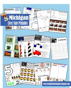{free} Michigan State Printables. A wide variety of activities to teach children ages 3-10 years old. THis is part of a set including all 50 states - free from Living Life Intentionally