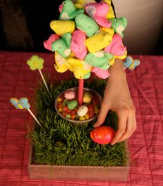 DIY Peep Topiaries for Easter  I don't like to eat them, but they make great embellishments for crafts!