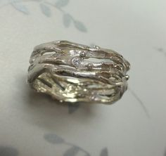 Organic wedding band or engagement ring.  14k gold with diamonds. via Etsy Bohemian wedding, boho, rustic, organic
