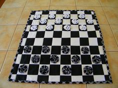 Fabric Checkers game Black and White board