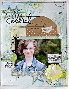8 1/2 x 11 layout by Patter Cross using Blue Fern Studios papers, chipboard, and July sketch.