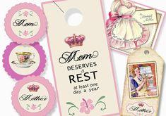 Digital Download Mother's Day Coordinating Set Door Hanger, Card, Tag, Toppers, Stickers by sssstudio
