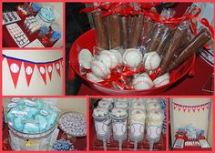 BASEBALL DESSERT BAR- End of season party ideas include:  Baseball Push-up Pops  Baseball mini cupcakes  chocolate dipped marshmallows  chocolate dipped rice krispie treats  cotton candy (blue)  popcorn  Bazooka gum  Baseball bat chocolate pretzels  Baseball Chocolate suckers  Baseball foil chocolates  Caramel cupcakes (covered in red foil)  Blue Old Fashioned Candy Sticks  Tootsie Pops (blue)