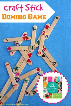 Simple set up, fun to play craft stick domino game. Fun way to practice numbers and shapes. #preschool #efl #education (repinned by Super Simple Songs)